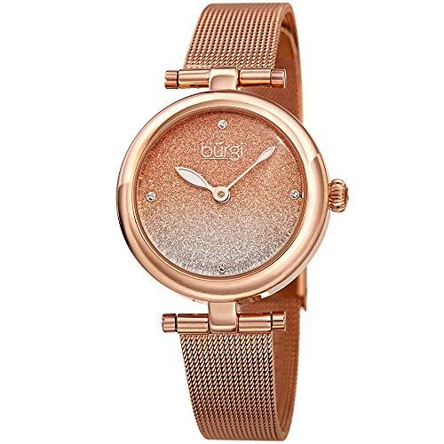 Burgi BUR231 Designer Women s Watch – Stainless Steel Mesh Strap Swarovski Crystal Markers, Glitter Dial – Fashion Bracelet Wristwatch