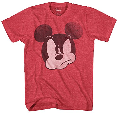 Mad Mickey Mouse Graphic Tee Classic Vintage Disneyland World Mens Adult T-shirt Apparel (Large, Heather Red) -
