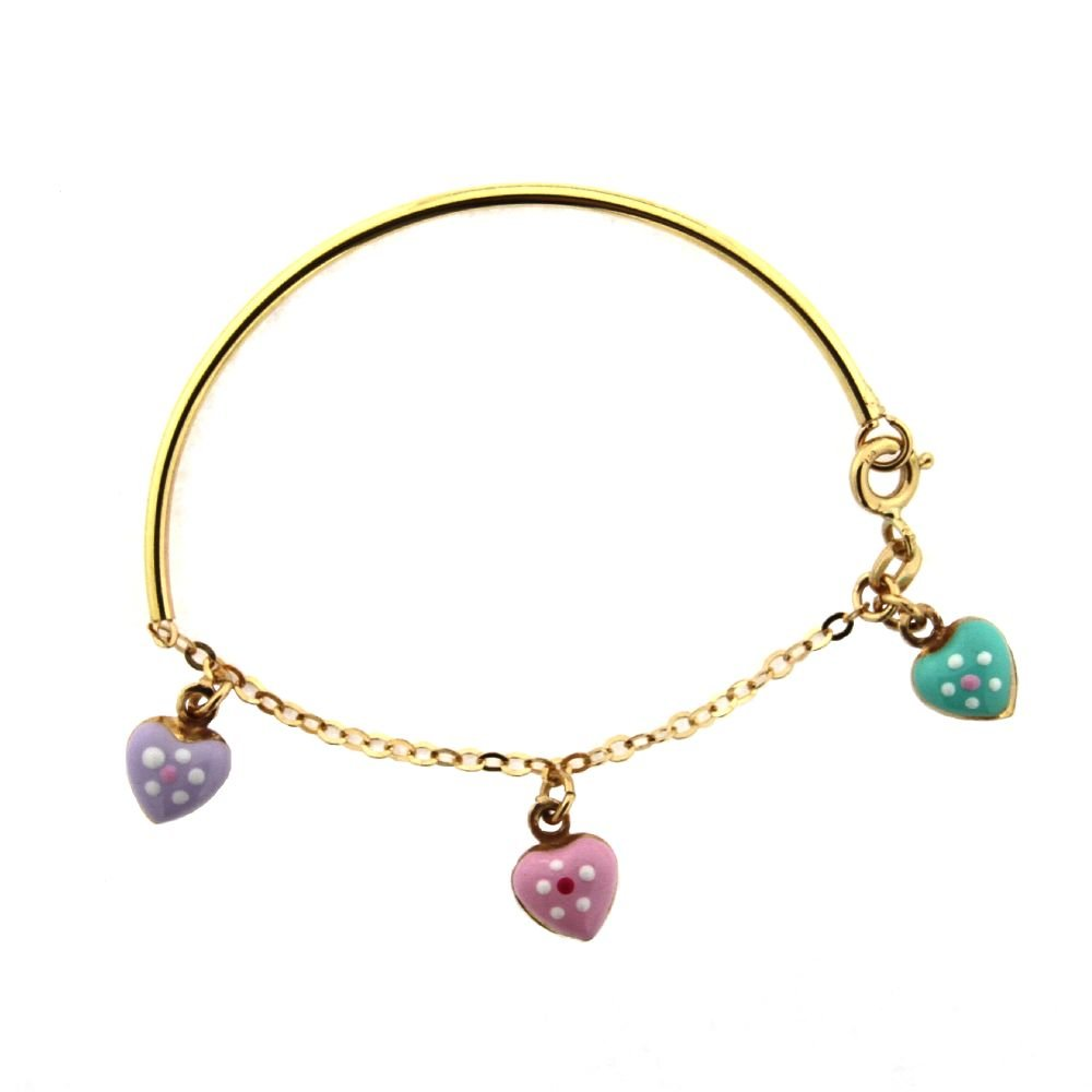 18K Aqua Lilac and Pink Enamel Dangle Hearts with Enamel Flower Bangle 1.8 inch diameter