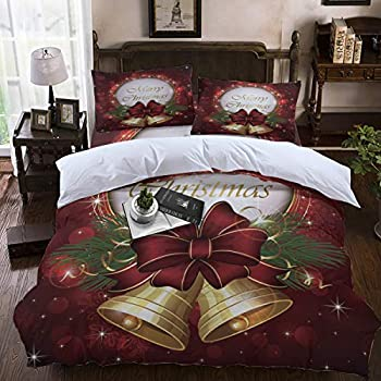 Image of Amaze-Home Bedding 4pcs Duvet Cover Set California King, Merry Christmas Bells Starlight Bed Sets Soft Microfiber Comforter Cover with Zipper Closure and Decorative Pillow Shams for Adult/Kids/Teens Home and Kitchen