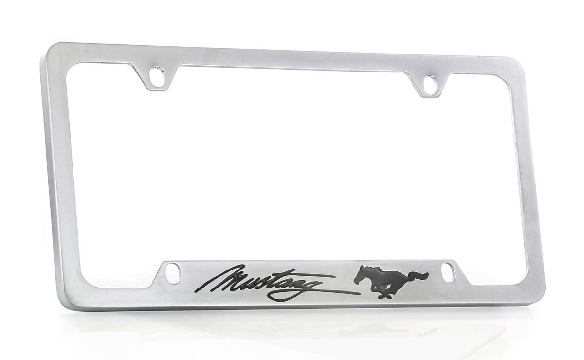 Ford Mustang Satin Finish Brass Metal License Frame Holder 4 Hole