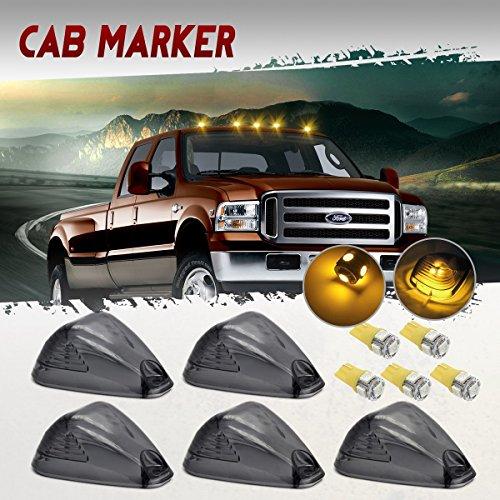 (Partsam 5x Smoke Cab Marker Clearance Light + 5x Amber 5050-SMD 194 168 T10 LED Bulb for 1999 - 2016 E150 E250 E350 E350 Super Duty E450 Super Duty F250 F350 F450 F550 Super Duty F150)