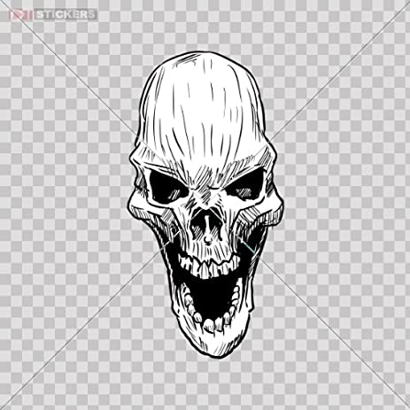 Decals sticker open mouth creepy skull color print 5 x 2 5 inch se445 size