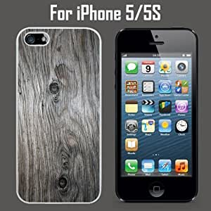 Grey Weathered Wood Grain Custom Case/ Cover/Skin *NEW* Case for Apple iPhone 5/5S - White - Plastic Case (Ships from CA) Custom Protective Case , Design Case-ATT Verizon T-mobile Sprint ,Friendly Packaging - Slim Case