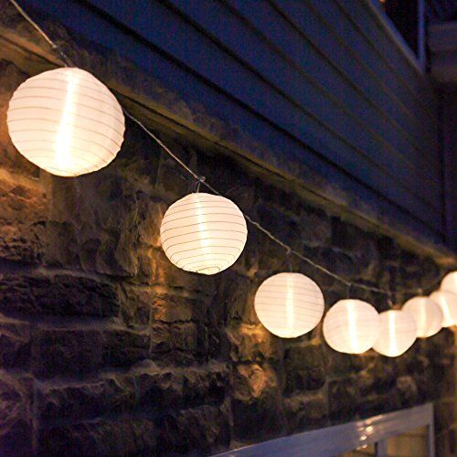 White Paper String Lights - 10 ft. White Outdoor String Light, 10 Mini Lanterns, 1 Plugin Strand, Connectable, Water Resistant, Indoor/Outdoor Use, Expandable to 250 Lights