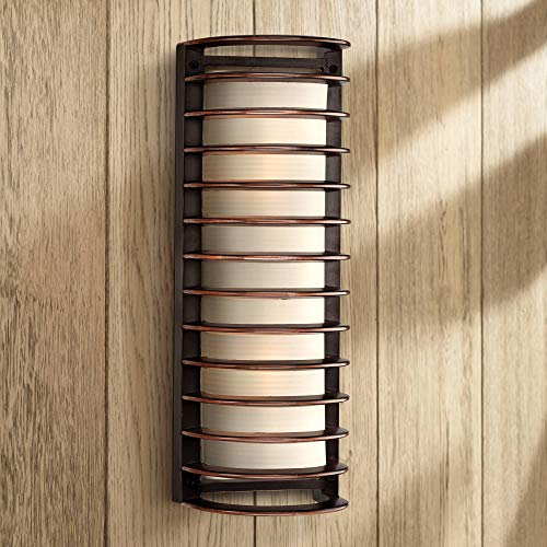 "Modern Industrial Outdoor Wall Light Fixture Rubbed Bronze Grid 16 3/4"" Frosted Glass Cylinder for Exterior House Porch Patio - John Timberland"
