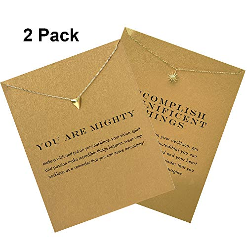 Clavicle Necklace with Card Delicate Triangle Pendant Dangle Choker Collarbone Chain Women Girls Gold Glitter Wedding Bridal Holiday Simple Charms Jewelry Minimalist Party Favors Triangle Sun 2 Pack