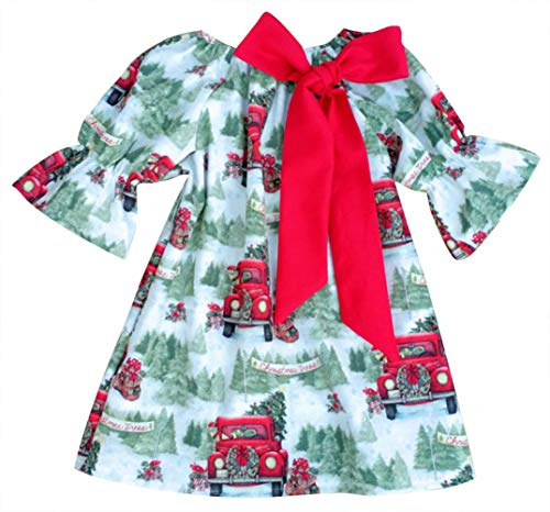 SWNONE 2Pcs/Set Christmas Dress Baby Girl Ruffles Sleeve Outfits Christmas Tree Xmas Clothes Set (Red&Green, 4-5 Years Old)