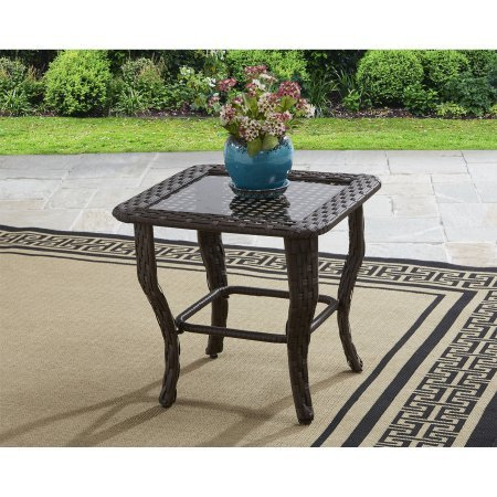Better Homes and Gardens Colebrook Glass Top Side Table - Brown from Better Homes & Gardens