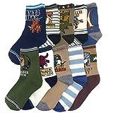 Kids Boy's Fashion Cartoon Dinosaurs Pattern Sport Socks 10 Pairs (4-7 years, Dinosaurs 5)