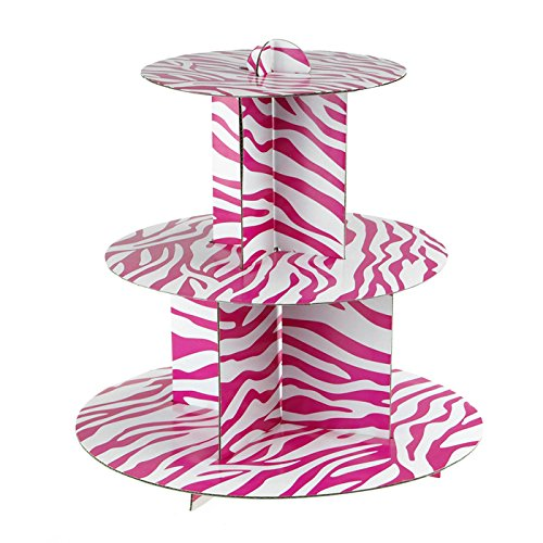 (Homeford Firefly Imports Spiral Zebra Cardboard Cupcake Stand, 3-Tier, 11-Inch, Hot)
