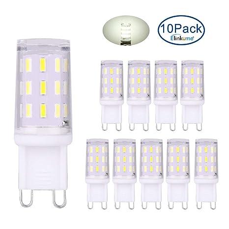 ELINKUME 10x G9 Lámpara LED 3W Blanco frío Bombillas sin parpadeo Lámparas ahorradoras de energía Reemplaza
