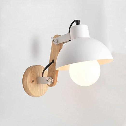 Nero Bianco Blu Nordic LED Illuminazione da parete a applique da parete Moderno e minimalista Soggiorno da studio Applique da parete Lampade da parete orientabili in legno massello Rosa