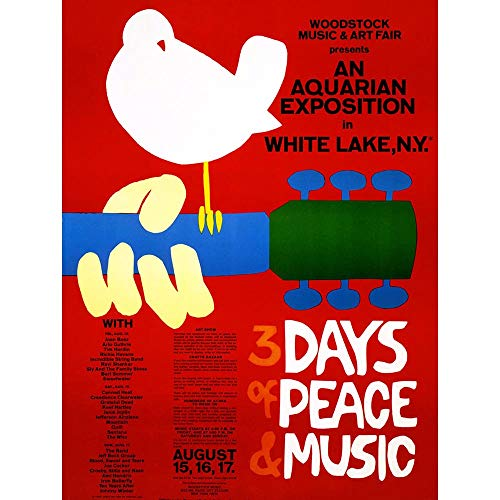 Wee Blue Coo Music Festival Concert Woodstock Ny Peace Dove Love Legend Unframed Wall Art Print Poster Home Decor - Small Peace Poster