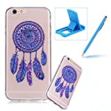 iphone 6 protective sheet - Clear TPU Case for iPhone 6S,Soft Soft Gel Bumper Cover for iPhone 6,Herzzer Ultra Slim Stylish [Blue Dreamcatcher Pattern] Shock-Absorbing Anti-Scratch Flexible Rubber Silicone Transparent Case