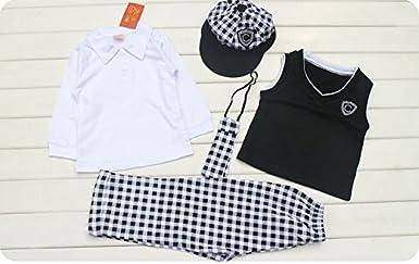 SGBB Baby Boys Gentleman Waistcoat Hat Suit Clothes Set Pant Necktie Shirt