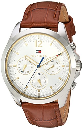 Tommy-Hilfiger-Womens-Quartz-Stainless-Steel-and-Leather-Automatic-Watch-ColorBrown-Model-1781701