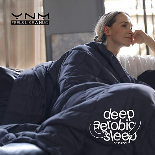 YnM Weighted Blanket (15 lbs, 48''x72'', Twin Size) | 2.0 Cool Heavy Blanket | 100% Cotton Material with Glass Beads.