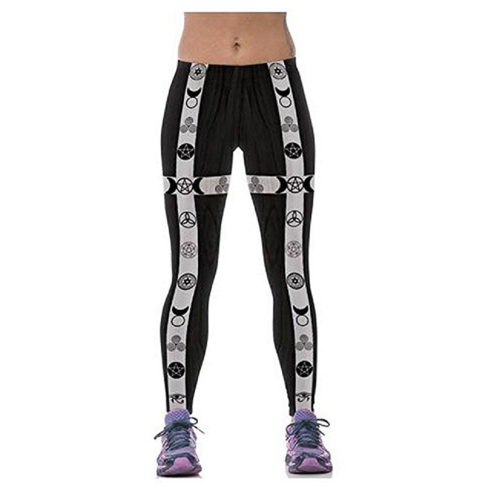 Elakaka Christmas Printing Breathable Sweat Movement Yoga Leggings