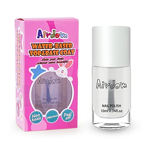 Airdom Non Toxic Kids Nail Polish Water Based Natural Odorless Safe Peel Off Nail Polish Set Quick Dry Nail Polish Gifts Toys Kit for Girls Kid (Top & Base Coat) (Best Top Coat For Nail Foils)