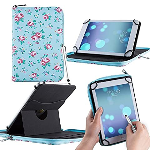 Casezilla Amazon Kindle Paperwhite Tablet 360 Rotating Universal EVA Hard Shell Folio Case - Roses (Kindle Paperwhite Case Rotating)