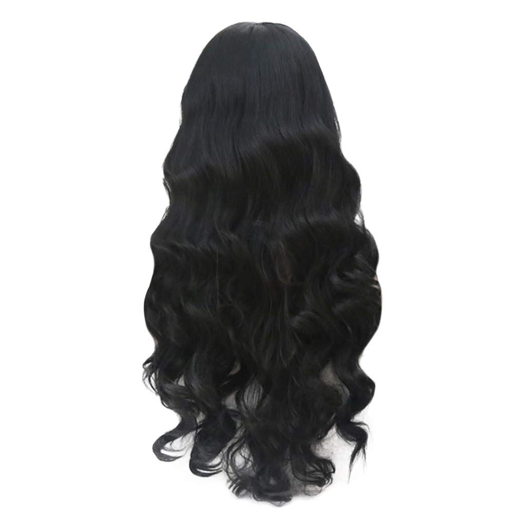 Europe and America Women's Long Hair Curly Hair Anime Cosplay Big Wave Black Long Hair Front Lace High Temperature Synthetic Hair Wig by Sunsee (Image #7)