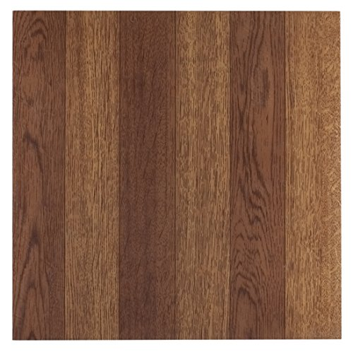 Pack of 45 Elegant Home 12'' x 12'' Self Adhesive High Gloss (No Wax) Finish 1.2mm Thick Vinyl Tiles - Medium Oak Plank-Look