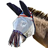 Derby Reflective Trim Mesh Mule and Donkey Fly Mask with Ears & Nose Fringes - One Year Warranty - Patriotic