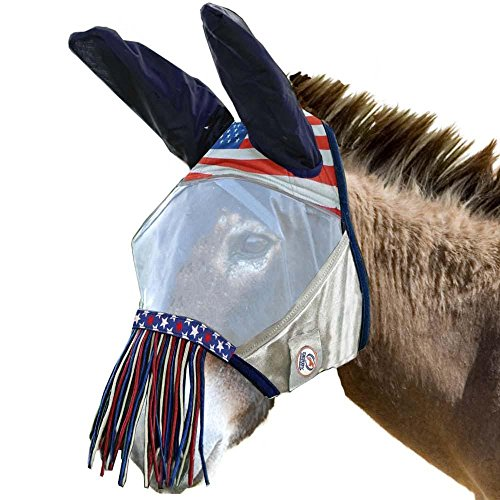 (Derby Reflective Trim Mesh Mule and Donkey Fly Mask with Ears & Nose Fringes - One Year Warranty -)