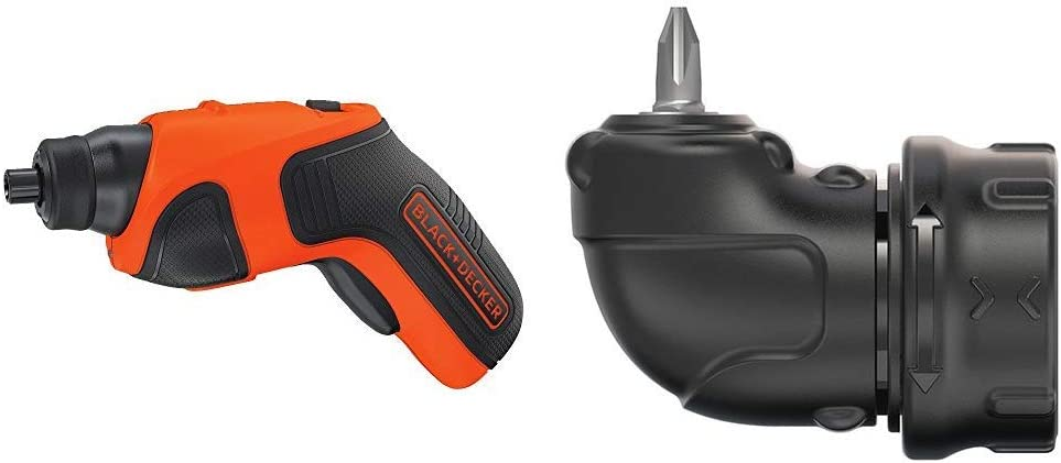 BLACK+DECKER 4V MAX Cordless Screwdriver with Right Angle Attachment (BDCS20C & BDCSRAA)