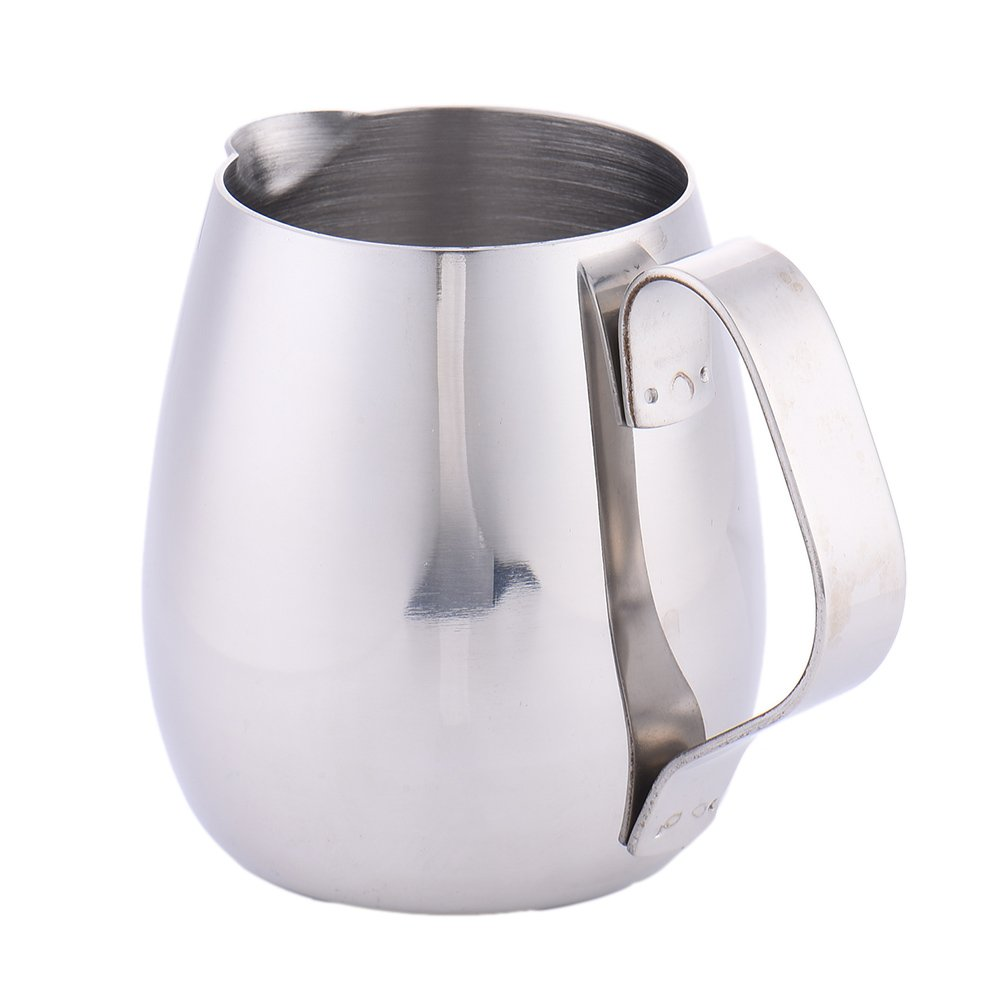10oz/300ml Milk Frothing Pitcher Coffee Latte Thicken Stainless Steel Milk Cup Drum-shape Polished Jug Steaming Milk Cup Fulstarshop