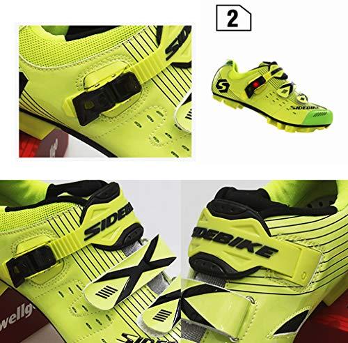 Microfibre Cyclisme En Fixation Pour amp; Pu Vert Vélo Montagne Avec Sidebike Adultes Pédale Chaussures De Synthétique UPEqYw7F