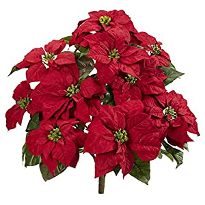 """Nearly Natural 6077-S2 24"""" Poinsettia (Set of 2) Artificial Plant Red 53"""
