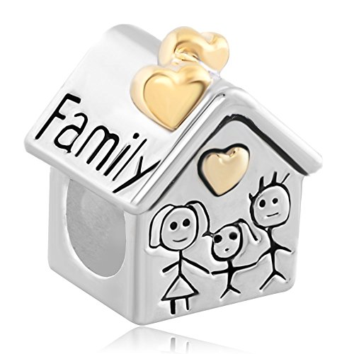 LovelyCharms 925 Sterling Silver Family House Beads Fit Bracelets (Charm Sterling Silver House)