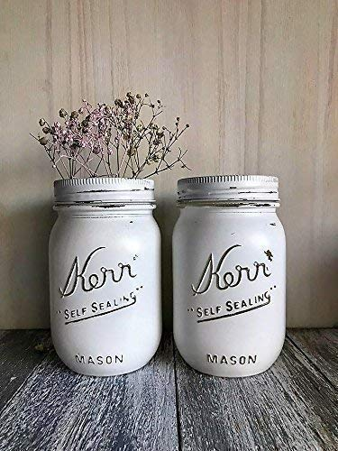 Set of 2 White Painted Mason Jars Rustic Decor Centerpieces Baby Shower -