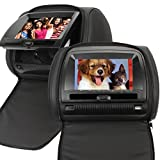 NAVISKAUTO(TM) Faux-Leather 7 inch HD Digital Widescreen Car Headrest DVD Car USB SD CD DVD Player Multimedia Monitor Support FM IR Transmitter and IR Headphones-Black (IR Headphones Not Included)