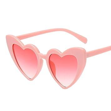 Familizo Femmes Mode Lunettes de Soleil en Forme de Coeur, Lunettes UV intégrées Shades (C, Miroir Jambes Longueur: 14.7cm)