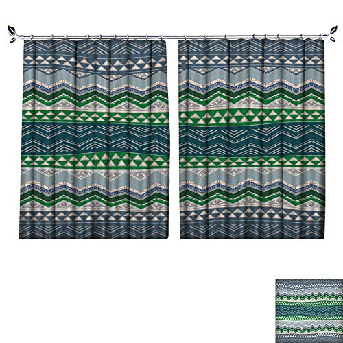 DESPKON UV-Proof Polyester Material Boho Style Seamless Pattern Hand Drawn Aztec Wallpaper. Floor Curtains W108 x L72