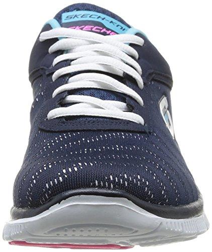 Skechers Flex Appeal First Glance, Zapatillas de deporte para mujer Azul marino/ Blanco (NVW)