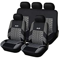 AUTOYOUTH Tire Track Detail Full Set Car Seat Covers Car Interior Accessories Universal Fit - 9PCS, Black/Gray