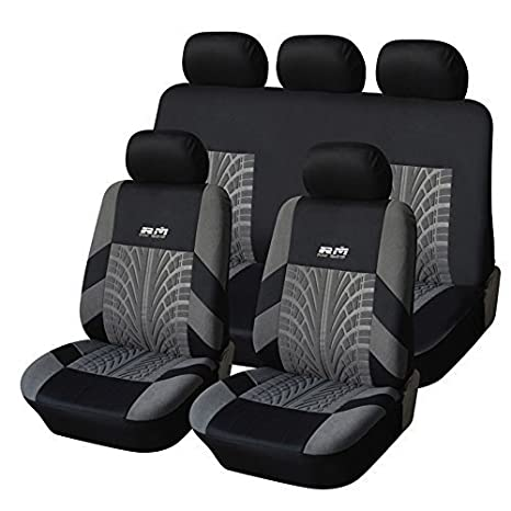 4PCS Black//Gray AODELAI CO AUTOYOUTH Tire Track Detail Front Bucket Seat Covers Car Interior Accessories Universal Fit LIMITED