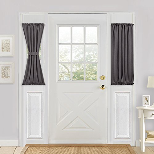 Blackout French Door Curtain Panels - PONY DANCE Thermal Insulated Sidelight Window Curtains for Front Doors Including Bonus Adjustable Tieback, 25 by 40 inch, Grey, Single Panel