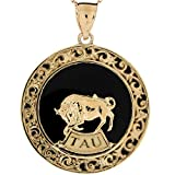 10k Yellow Gold 4.1cm X 3.07cm Taurus Zodiac Astrological Onyx Pendant