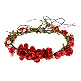 Love Sweety Women Girls Bride Rose Pearl Flower Crown Boho Floral Headpiece for Party (Red)