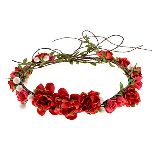 - Love Sweety Women Girls Bride Rose Pearl Flower Crown Boho Floral Headpiece Party (Red)