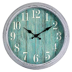 HYLANDA Teal Wall Clock, 12 Inch Retro Vintage Silent Wall Clocks Battery Operated Non Ticking Decorative for Kitchen Home Living Room Office Bathroom(Gray)