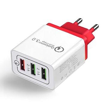 FastDIrect Cargador Rápido 3.0 USB 3 Puertos Adaptador de Cargador Portatil Inalambrico para Viaje, Teléfono Móvil, Casa (Rojo)