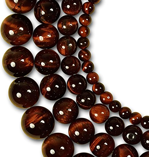 LK-CRAFTS Natural Red Tiger Gemstone Round Loose Beads For Jewelry Making Findings /Accessories 1 Strand 15.5 inches - 6mm (Eye Tiger Red)