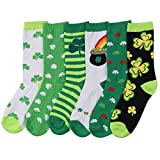 Womens Fun and Colorful Crew Sock 6 Packs (St. Patricks Day 2), One Size