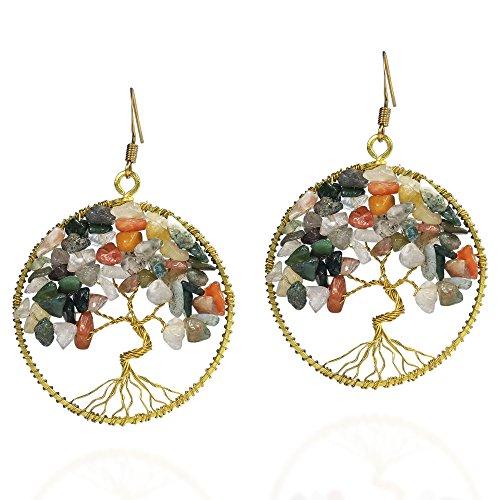 Eternal Tree of Life Multi-tone Quartz Branch Brass Dangle Earrings